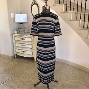 TOPSHOP Brown Stripe Midi Dress Size 12 Bodycon